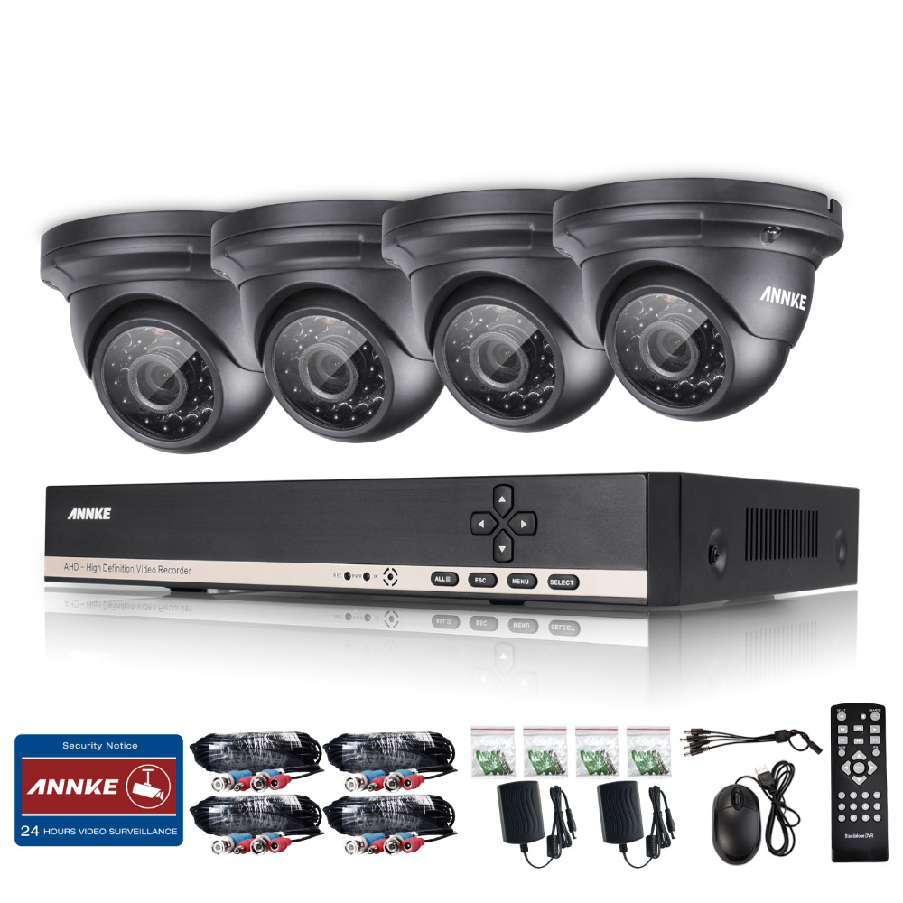 ANNKE 8ch 1.3MP 720P VIdeo surveillance system 4pcs Ourdoor CCTV Camera 8 channel AHD 1080N DVR Home Surveillance System(China (Mainland))