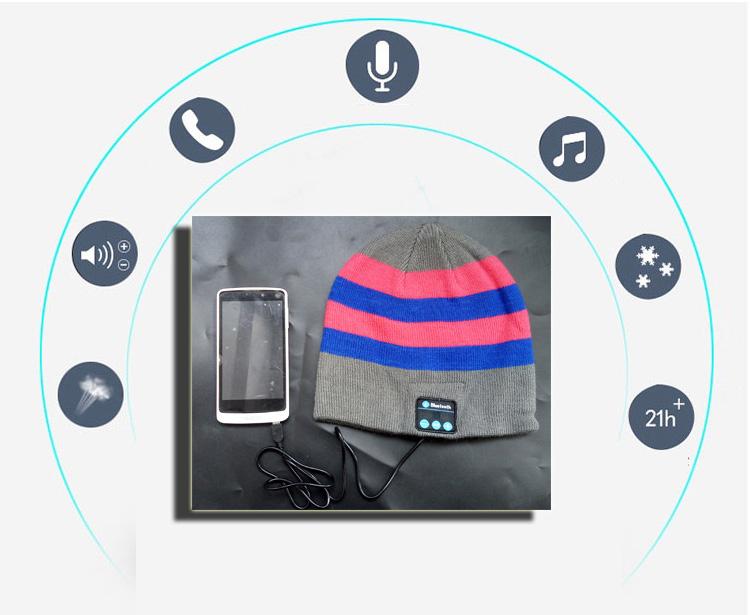 Unisex Soft Warm Winter Hat Wireless Bluetooth Beanie Smart Cap Headset Headphone Speaker Mic(China (Mainland))