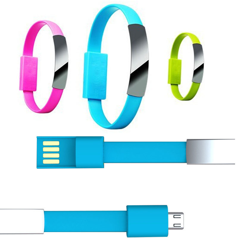 IP0003 Mix Color rubber band for bracelet New smart phone usb bracelet cable(China (Mainland))