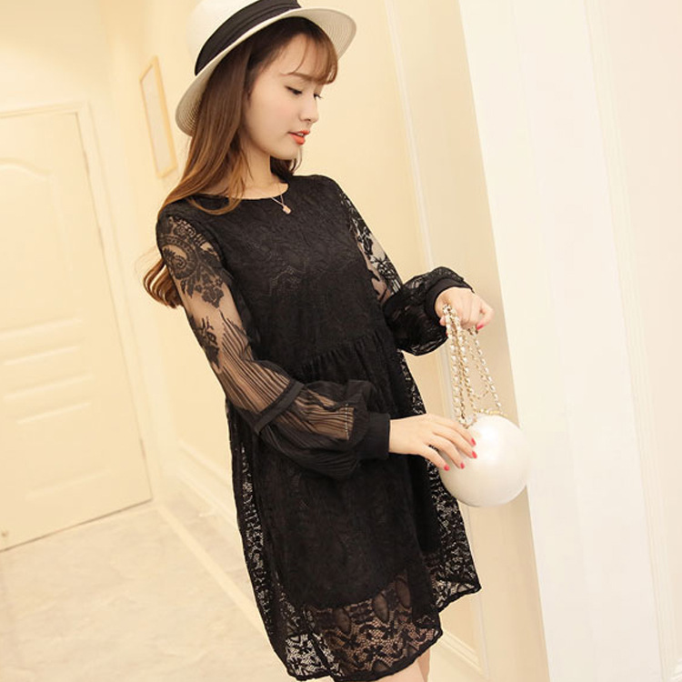 NEW Summer autumn maternity clothing plus size pink black fashion loose lace dress maternity dresses pregnant woman outwear(China (Mainland))