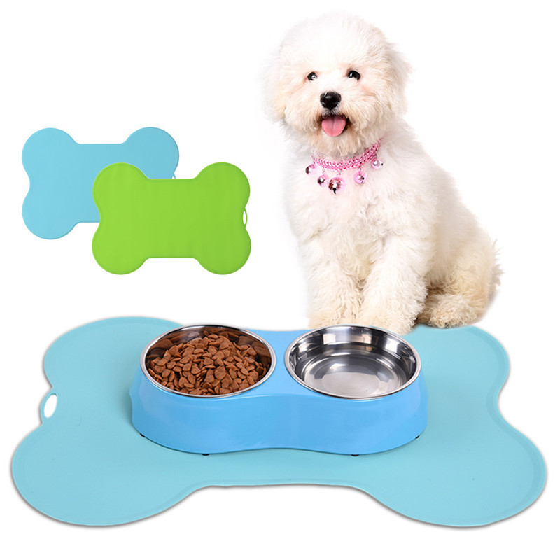 Super Design Pet Dog Puppy Cat Feeding Mat Bone Silicone Pad Cute Bed Dish Bowl Food Water Feed Placemat Wipe Clean Pet Supplies(China (Mainland))