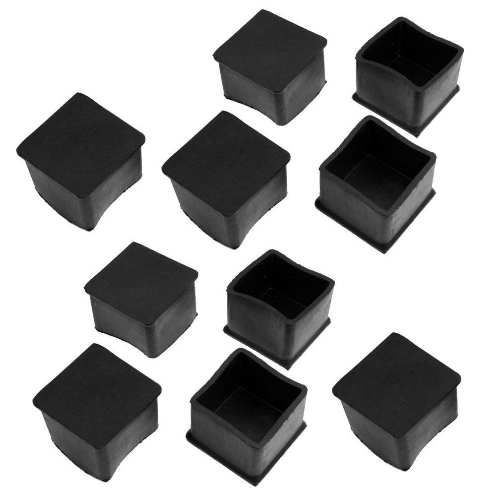 무료 배송 10 개 검은 색 고무 광장 38mm X 38mm 테이블 의자 다리 보호 발 캡 에서