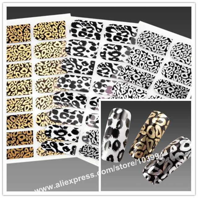 Free Shipping 10Pack/LOT Popular Fashion Leopard Styles Metallic Nail Decals Nail Foil Wrap Sticker Salon Design Effects