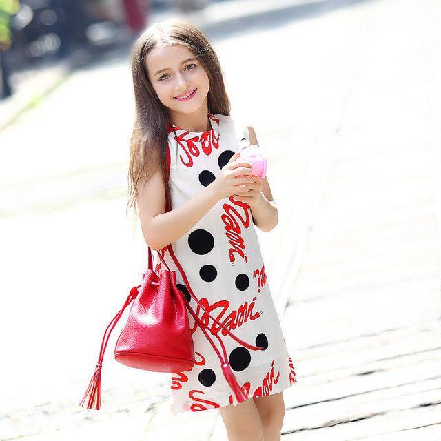 2016 Мило Моды Летние Платья для Девочек-Подростков Одежда Фрок дизайн Одежды для девушки Возраст 5 6 7 8 9 10 11 12 13 14 Т Лет старый