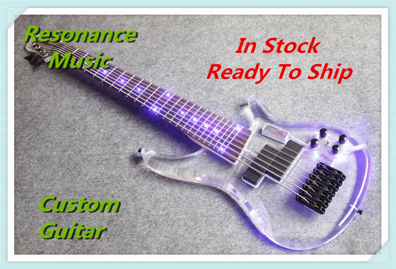 Limited Edition Clear Acrylic Glass Electric Guitar 7 Strings Bass Guitarra Rosewood Fretboard Black Hardware(China (Mainland))