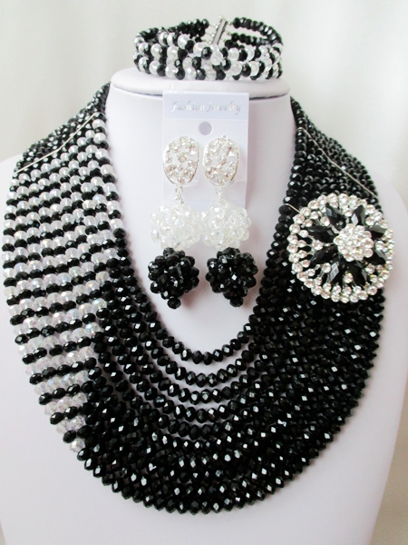 2015 Fashion african crystal beads necklace set nigerian wedding african beads jewelry set Free shipping P-4217<br><br>Aliexpress