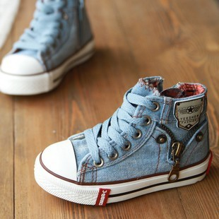 Size25~37 Children Shoes Kids Canvas Sneakers for Boys Boots denim jeans 660 Side Girls Zipper Shoes always available