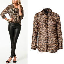HOT Ladies Sexy Women Cloth Leopard Print Summer Clothes Fashion Casual Cool Long Sleeve Button Down Chiffon Blouse Shirt Tops