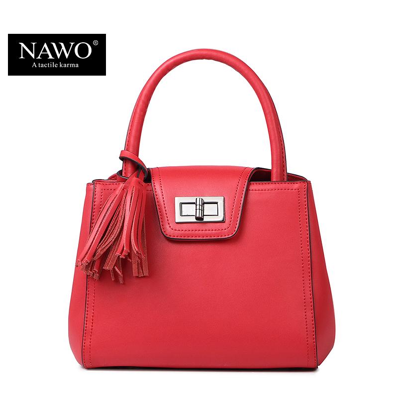 NAWO 2016 Fashion Saffiano Tassel Women Leather Handbags Women Messenger Bags Shoulder Bag Women Famous Brands Hand Bag Small(China (Mainland))