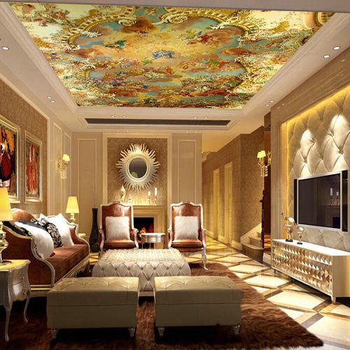Suspended ceiling murals wallpapers large photo wallpaper for Dining room mural wallpaper
