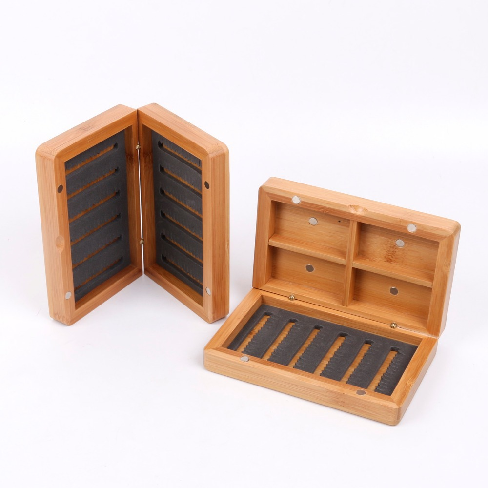 Fishing Tackle Box Bamboo Fly Box With Four Compartments Slit Foam Magnetic Wooden Fly Fishing Box(China (Mainland))