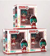 3PCS/LOT Anime Cute Nendoroid Hatsune Miku Figure Clover Club Red Hat PVC Action Figure Model Doll Toys Brinquedos