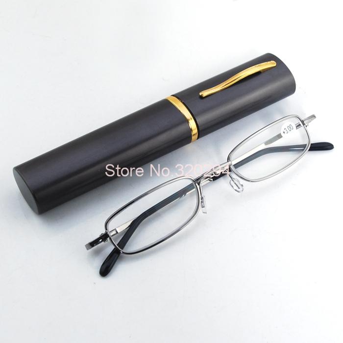 Eye Care Stainless Steel Full Frame Travel Pocket Eyewear Slim Reading Glasses+1.0 +1.5 +2.0 +2.5 +3.0 + Hard Aluminum Pen Box(China (Mainland))