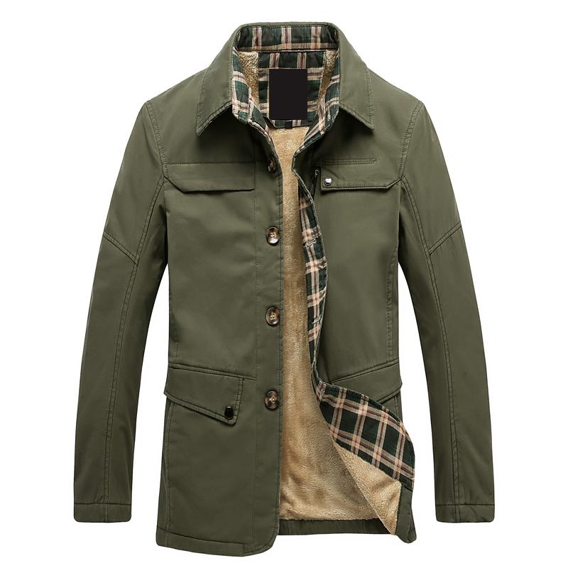 Hot Thick Windbreaker Coat for Men 2015 Casual Korean Men Trench Coat Slim Fit  Military Green Winter Jacket Men's Jacket Homme