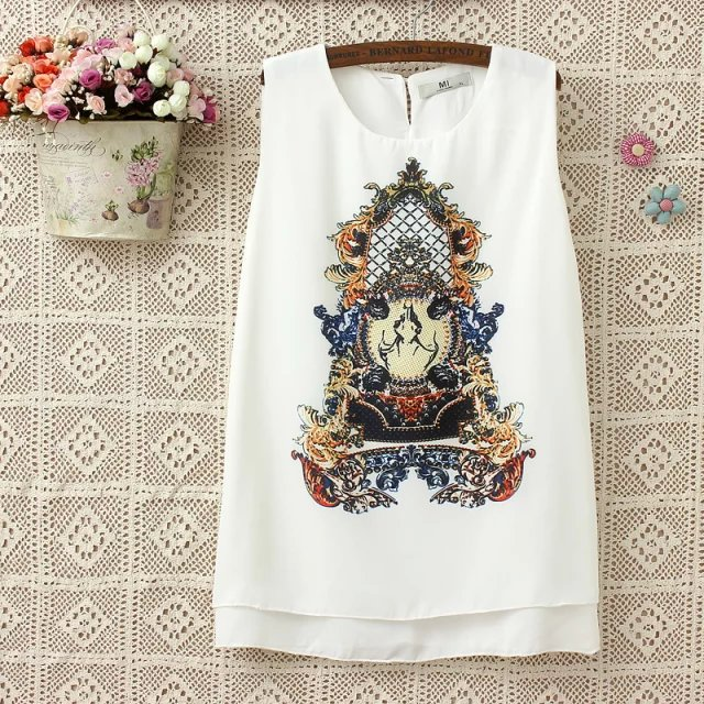H712 large size women fat mm summer 2015 new European double cartoon Printed Dress chiffon vest(China (Mainland))