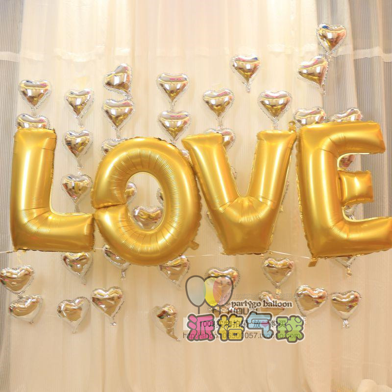 4pcs/lot  16 Inch Silver/Golden  Digital  LOVE Letters  Foil Balloon For Wedding  Party Decoration Helium Balloon <br><br>Aliexpress