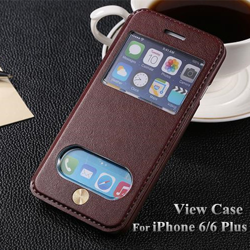 "Luxury View Window Leather PU Flip Case For Apple iphone 6 6g 4.7 inch Phone Cover Bag For iPhone 6 Plus 5.5 "" Stand Design PY(China (Mainland))"