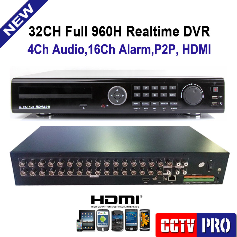 32 Channel H.264 Real Time Full 960H Standalone DVR P2P Cloud Network HDMI 1080P 32Ch DVR Recorder 4Ch Audio(China (Mainland))