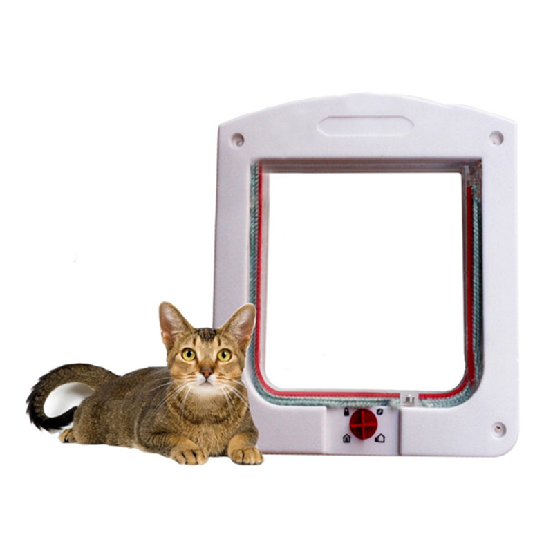 Convenient Lockable Dog Cat Glass Door Flap 4 Way Pet Products Supplies Dogs Cats Doors Through Yard White Brown Color(China (Mainland))