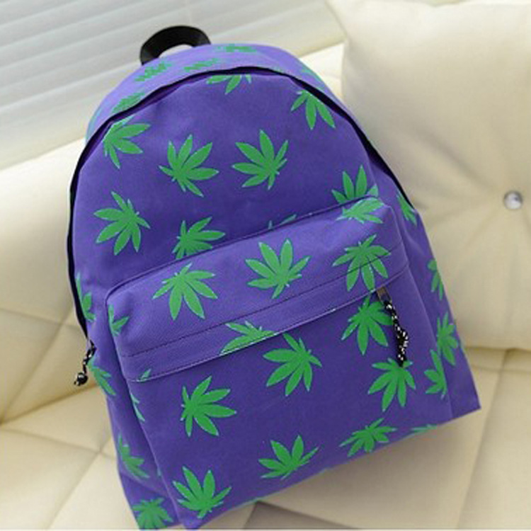 new Korean version backpack women 2014 of the small fresh maple leaves printed canvas shoulder bag schoolbag(China (Mainland))