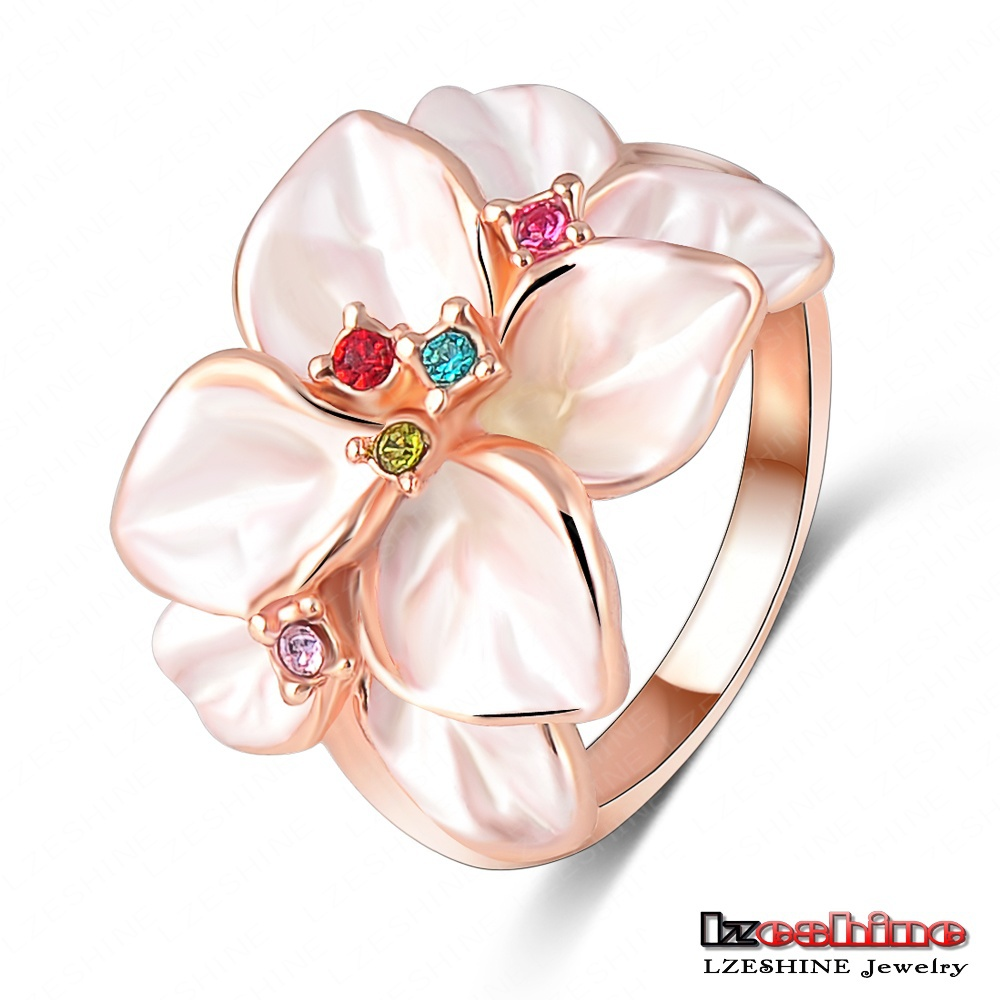 LZESHINE Christmas Big Sale Jewelry Ring 18K Rose Gold Plt Austrian Crystal White Enamel Flower Ring for Women anillos Ri-HQ1006(China (Mainland))