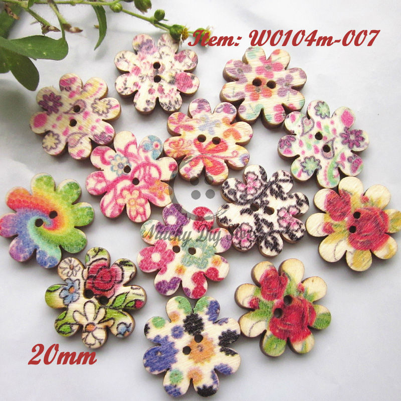 Scrapbooking accessories 144pcs 20mm mixed 8 petals flower wood buttons decorative craft scrapbooking sewing materials wholesale(China (Mainland))