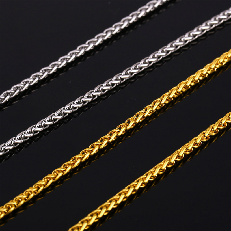 Twisted Singapore Chain Men Jewelry Necklace Fashion Collar 22'' Stainless Steel/18K Gold Plated Rope Chains For Men DIY GN897(China (Mainland))