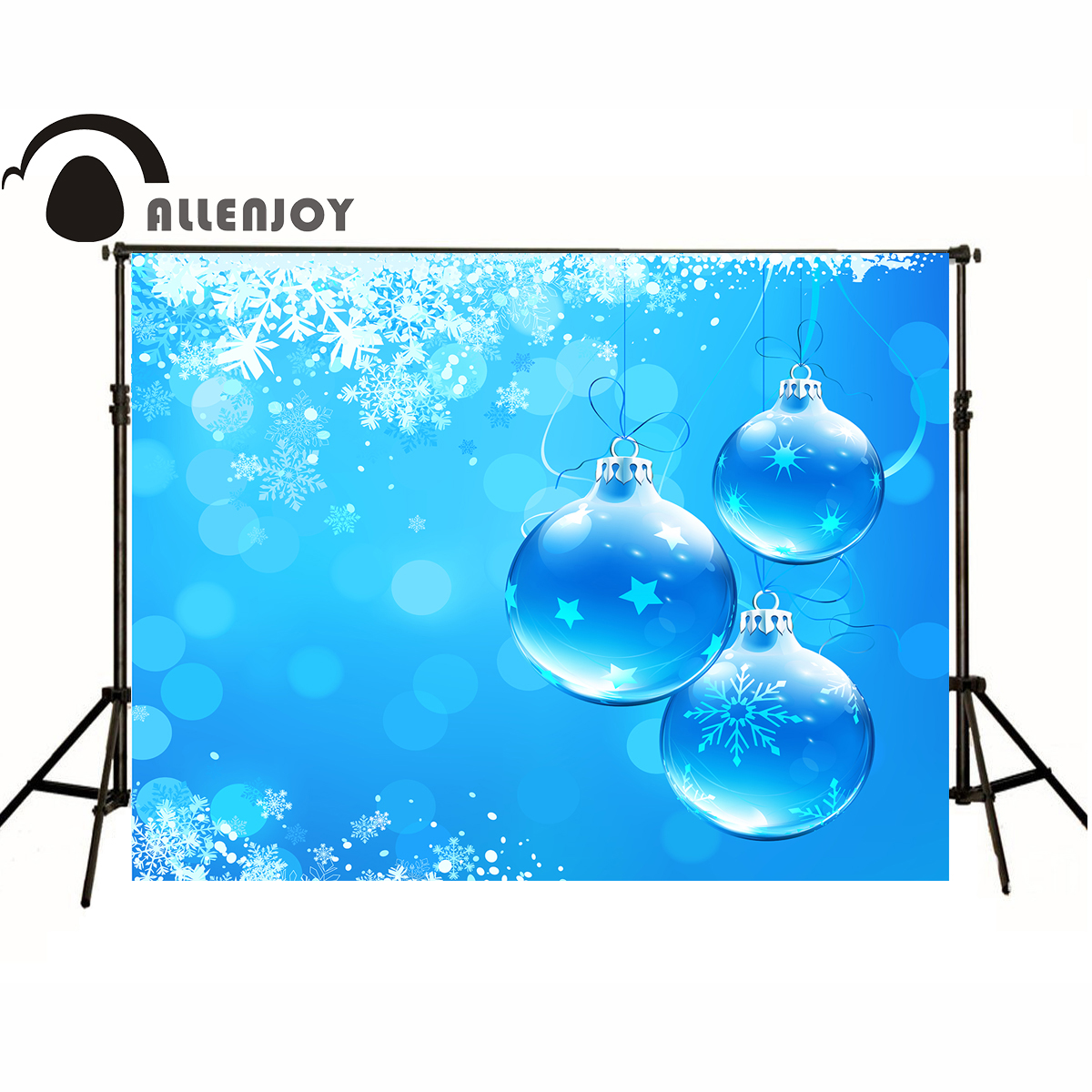 AllEnjoy photography Christmas background Light blue snowflakes stars xmas beautiful romantic Professional photography backdrops(China (Mainland))