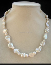 wow! freshwater pearl  white unique baroque flat  necklace 17inch nature(China (Mainland))