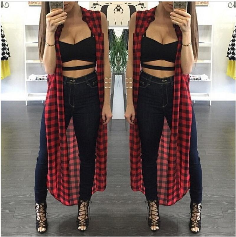 2016 Summer Red font b Plaid b font Print Maxi Shirt Casual Hip Hop Sleeveless Top