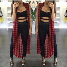 2016 Summer Red Plaid Print Maxi Shirt Casual Hip Hop Sleeveless Top Fashion Tshirt Long Femininos Element Camisetas Masculinas