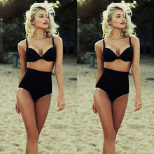 Sexy Women Black Vintage High Waist Bikini Set Bandage Swimwear Swimsuit Bathing
