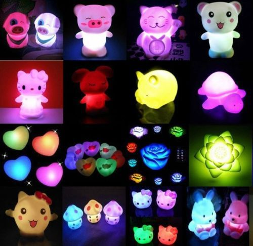 LED Night Light Lamp Cute 7 Colors Changing Decoration Candle Nightlight holiday(China (Mainland))