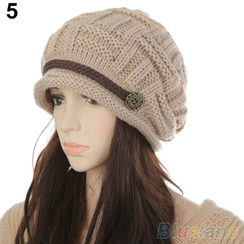 Women s Fashion Braided Autumn Winter Warm Baggy Beanie Knit Crochet Ski Hat Cap 1T49
