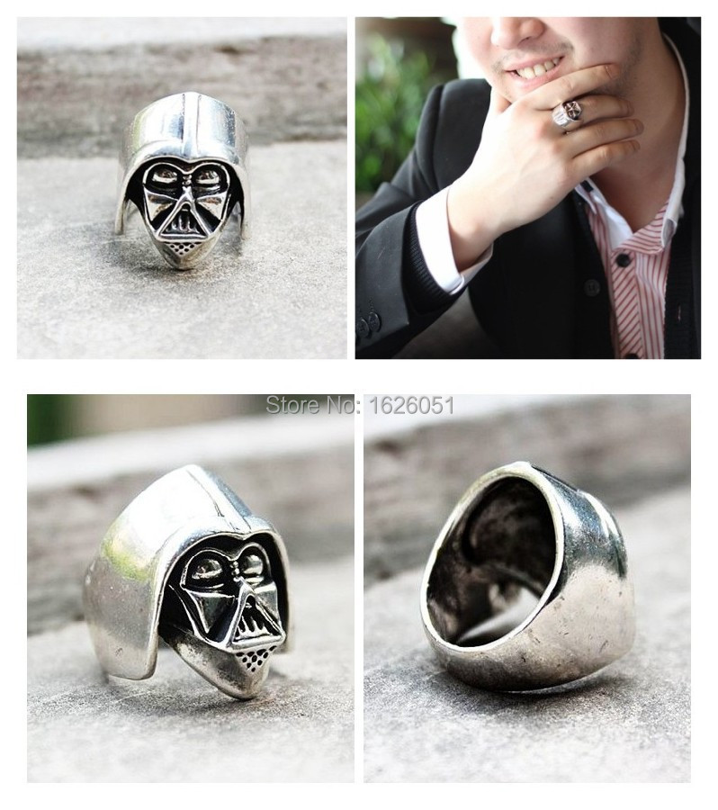 Star Wars Darth Vader Mask Shape Silver Planted Ring Statement Jewelry High Quality Metal Ring for Love Gift(China (Mainland))