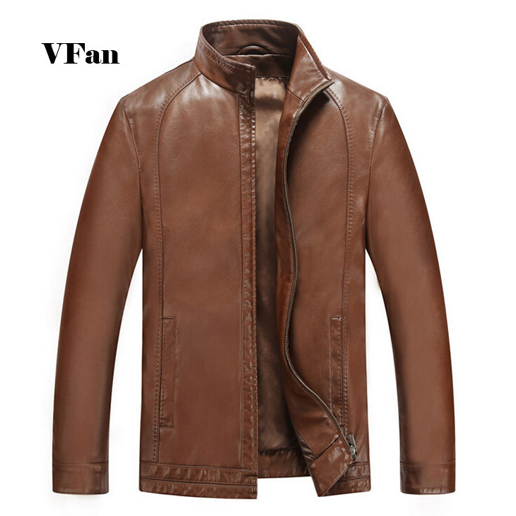 2015 Autumn Men Slim Fit Stand Collar Solid Color Genuine Leather Jacket Short Fashion Casual High Quality Jacket E1614(China (Mainland))