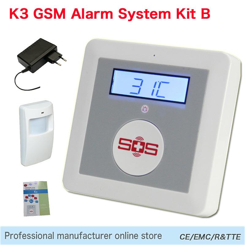 Burglar Alarm SOS Panic Button LCD Display SMS Panel IOS/Android Temperature Controller GSM Home Security Alarm System K3B(Hong Kong)