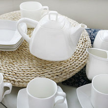 15 piece high-grade pure white color bone china Coffee cup and saucer Korean style square Coffee Sets Tea Sets