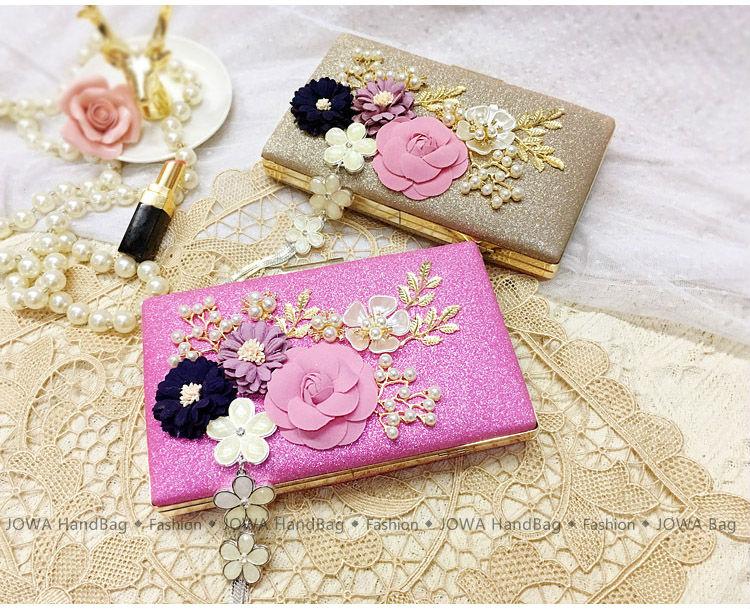 2017 Fashion Evening Bags Ladies Sweet Flowers Handbag Wedding Party Mini Pearl Clutches Tassel Chains Bag Night Purse 2 Colors