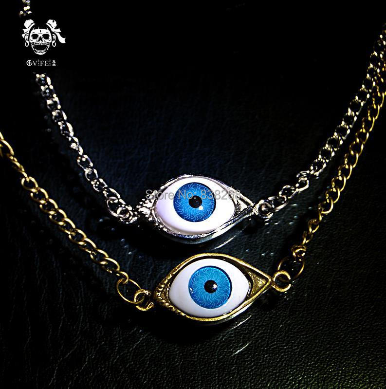 2015 Exclusive Gothic vintage punk EMO Devil's Eye necklace bronze sweater chain necklaces men jewelry for wholesale(China (Mainland))