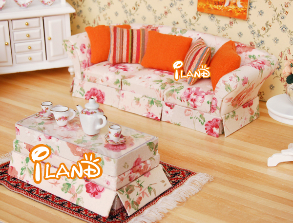 iland 1/12 Dollhouse Miniature Living Room Flower Furniture 3 sits sofa and tea/coffe table WL0692(China (Mainland))