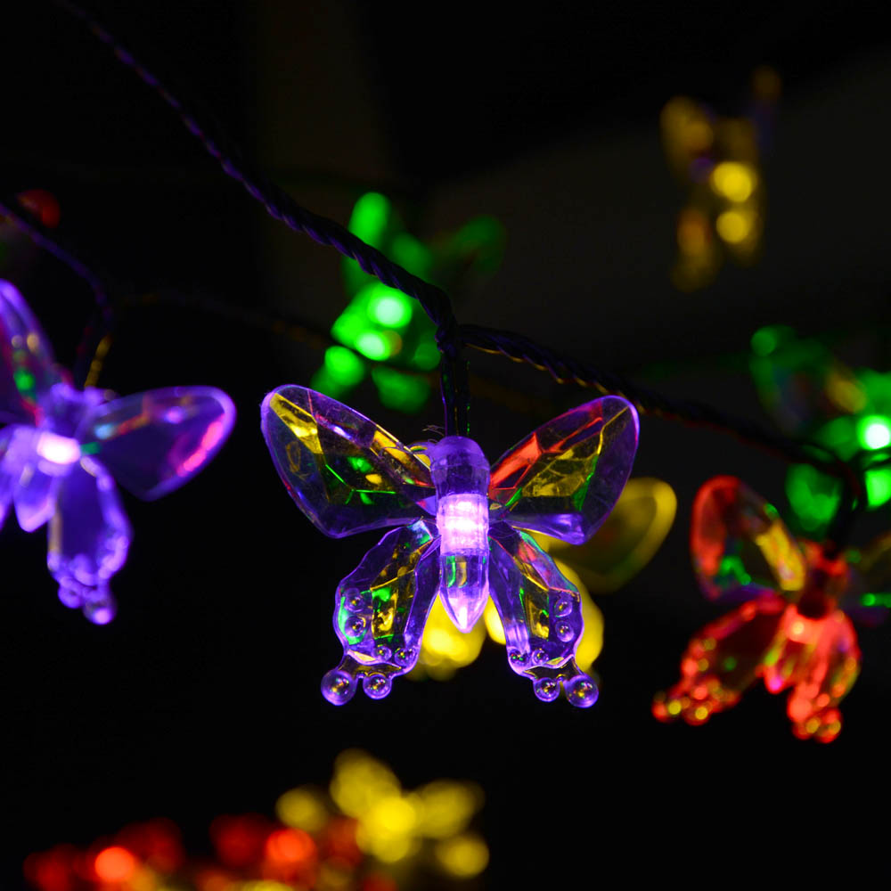 Solar Lamps 7M 40LEDs Colorful Butterfly Garland Fairy Luces Waterproof Christmas Outdoor Garden Solar Led Decoration Light(China (Mainland))