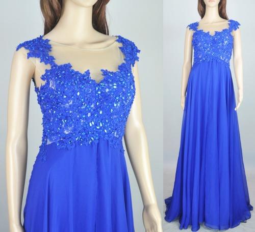unique chiffon popular blue long prom dresses, inexpensive formal lace BD15719 - okbridalshop store