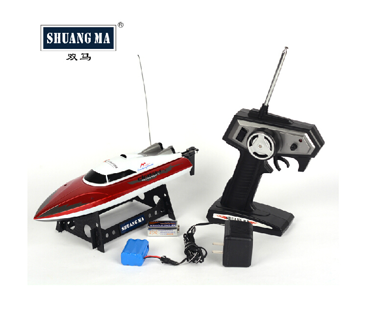 F12029 SHUANGMA 7009 4CH Remote Control Boat High Speed RC Boat with Retreat Function Color Red(China (Mainland))