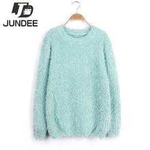 2016 korean autumn winter Stripes sweater women fashion sudaderas Mohair Pullover warm cashmere sweater women jumper pull femme(China (Mainland))