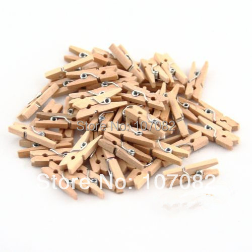 1000 Pcs/lot Birch Wooden Clothes Pins Mini Clothespins Pegs | Natural Color | 25mm Length(China (Mainland))