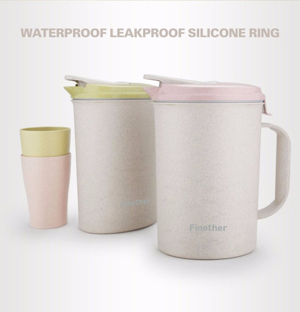 Finether Portable Wheat Straw Water Bottle Kit Tea Kettle Beverage Pitcher Jug Carafe with Lid 3 Cups Mugs Cold Water Pot Set(China (Mainland))
