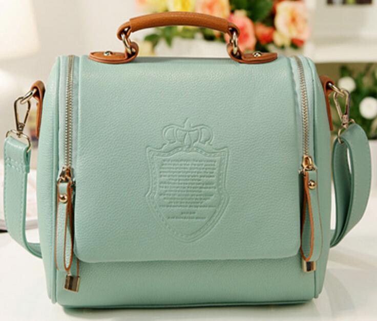 MLK NEW 2015 autumn European and American Style pu Solid Englon crown Fashion Vintage Women Handbags Shoulder Messenger bag(China (Mainland))