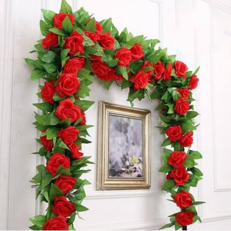 Artificial Flowers Silk Rose Vines For Wedding Christmas New Year Home Decorations Rose Rattan Hanging Festival Decor(China (Mainland))