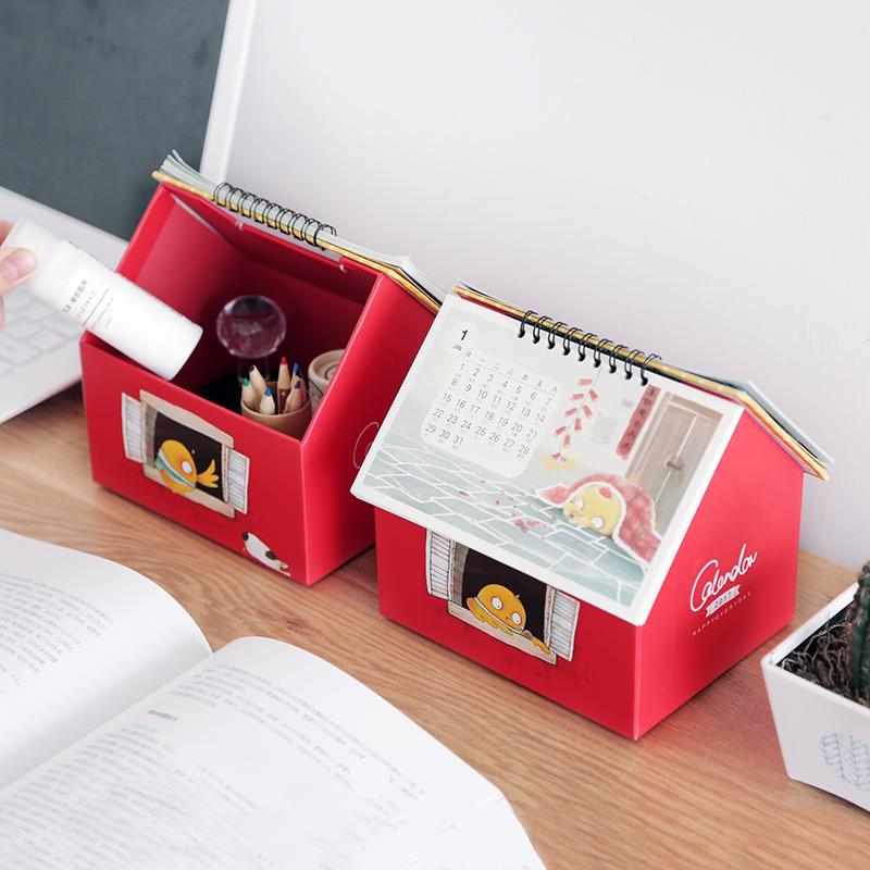 2017 Creative cute three - dimensional house modeling desk calendar creative multi - functional desktop storage box calendar(China (Mainland))